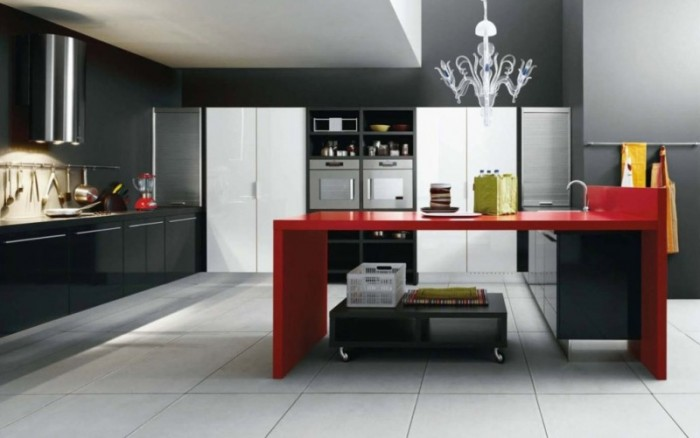 Black-and-White-Modern-Kitchen-Design-with-Red-Worktop5 45 Elegant Cabinets For Remodeling Your Kitchen