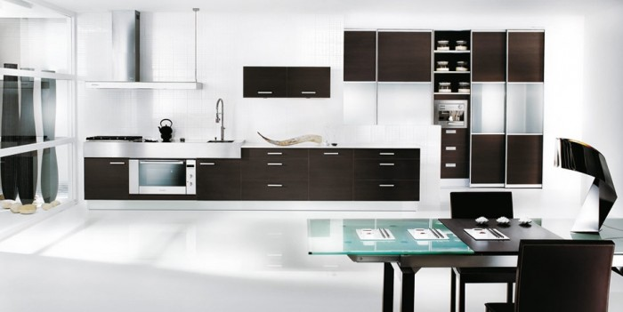 Black-and-White-Themed-Kitchen 45 Elegant Cabinets For Remodeling Your Kitchen