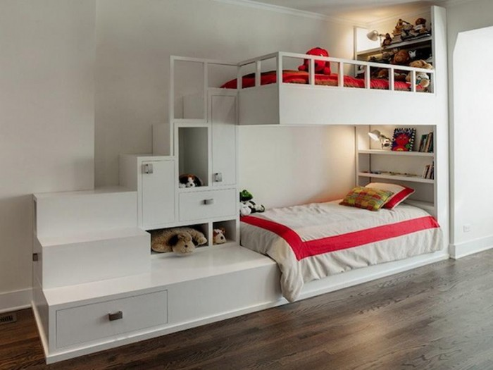 Bunk-Bed-with-Stairs-Ideas Make Your Children's Bedroom Larger Using Bunk Beds