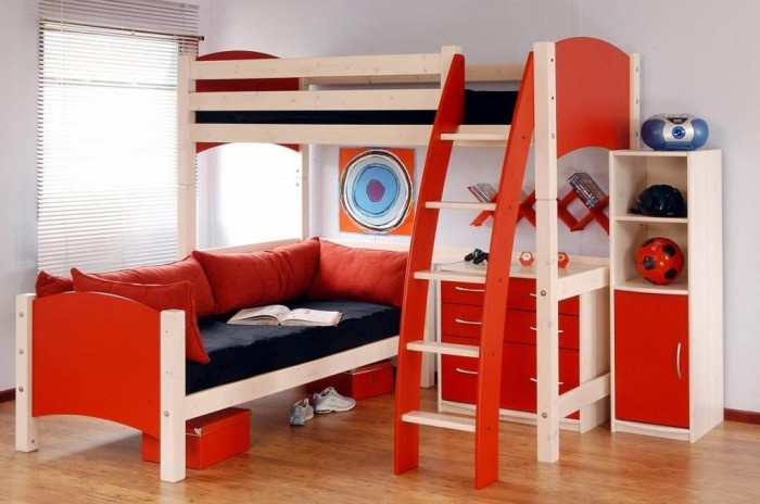 Childrens-Bunk-Beds-with-Stairs-and-Desk Make Your Children's Bedroom Larger Using Bunk Beds