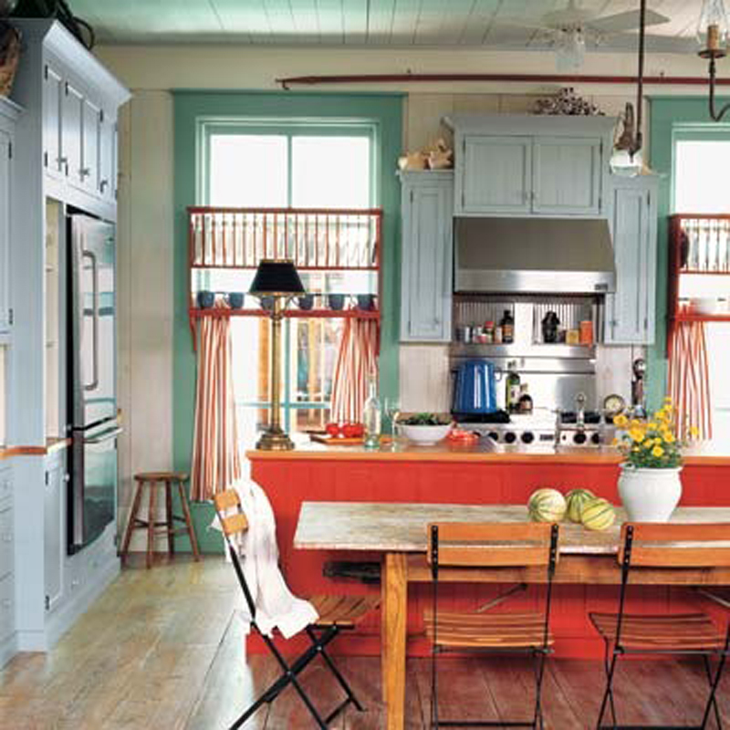 Colorful-Kitchen-Dining-at-Awesome-Colorful-Kitchen-Design-Ideas 10 Amazing Designs Of Vintage Kitchen Style