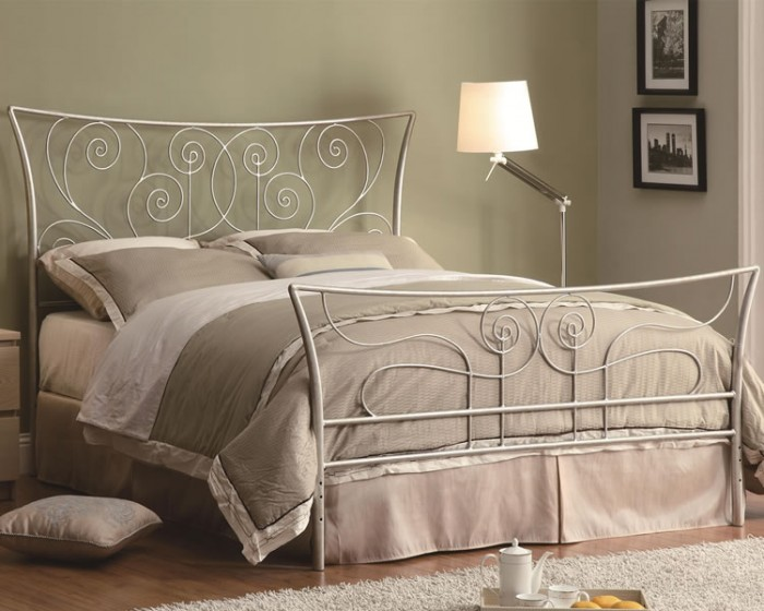 Contemporary_Silver_Metal_Bed_300252_Coaster_Furniture Luxury Designs For Beds Made Of Metal