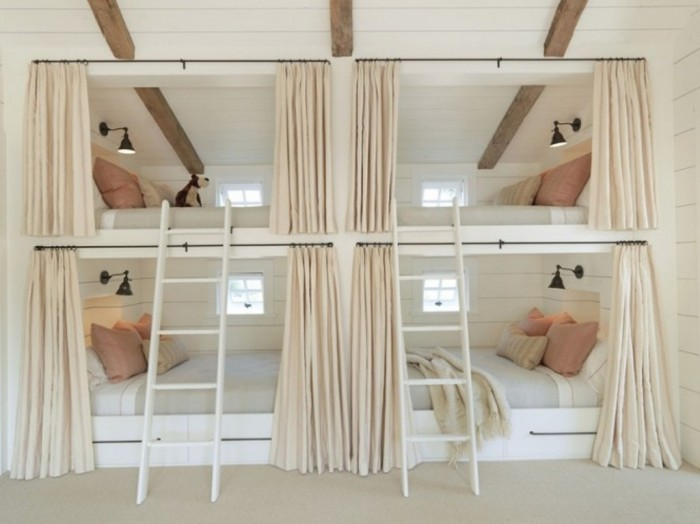 Creamy-Bunk-Beds-with-stairs Make Your Children's Bedroom Larger Using Bunk Beds