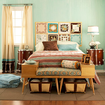 Creative-and-Cheap-Bedroom-Headboard-Decoration-Ideas-10-Hanky-Panky 17 Wonderful Ideas For Vintage Bedroom Style