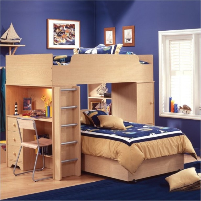 Dark-Blue-L-Shaped-Bunk-Beds-Boat-Miniature-615x615 Make Your Children's Bedroom Larger Using Bunk Beds