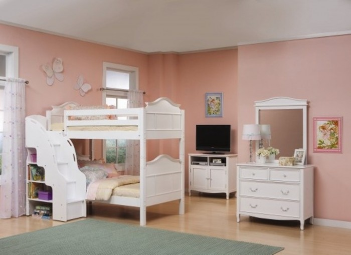 Emma-Bunk-Bed-w-Stairs-White Make Your Children's Bedroom Larger Using Bunk Beds