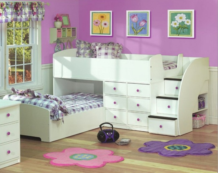 Fantastic-And-Adorable-Full-Over-Twin-Bunk-Bed-Design-With-Stairs-In-White Make Your Children's Bedroom Larger Using Bunk Beds