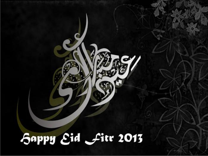 Happy-Eid-Al-Fitr-wallpapers-2013-Black-white 60 Best Greeting Cards for Eid al-Fitr
