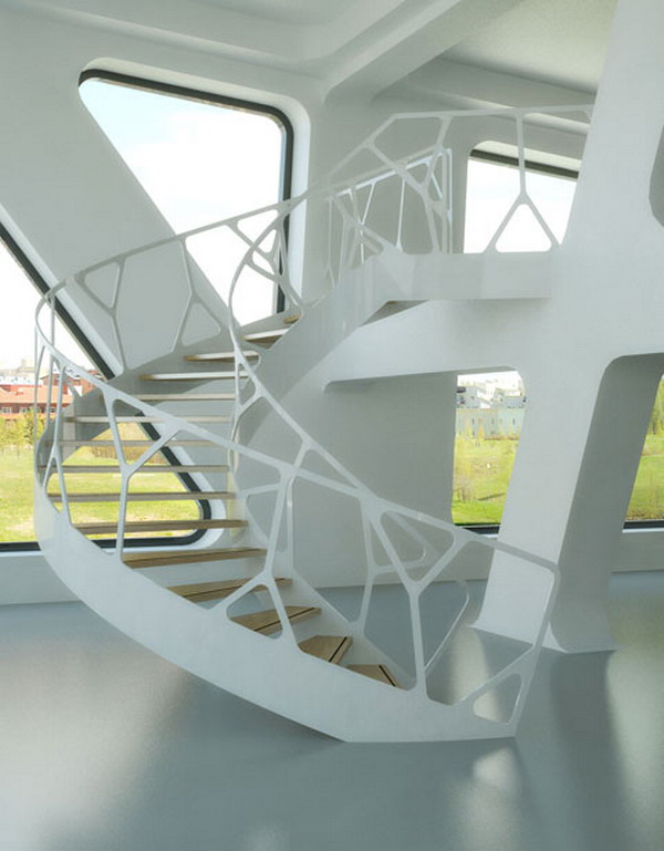 Home-Decorating-Ideas-with-White-Organic-Staircase Turn Your Old Staircase into a Decorative Piece