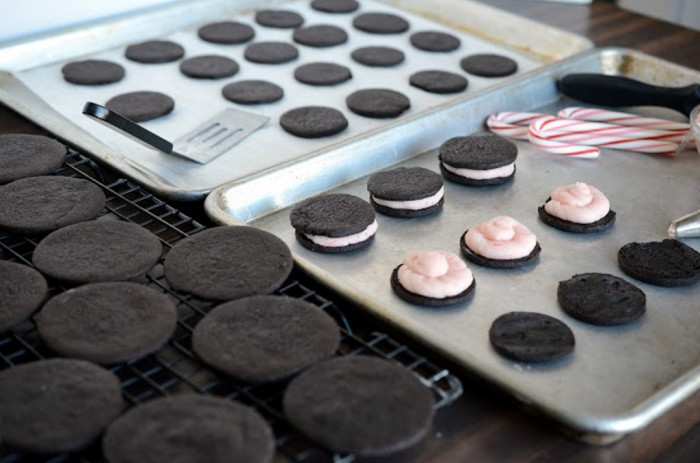 Homemade-oreos-cookies-with-a-peppermint-candy-cane-filling-dark-chocolate Learn to Make Oreo Cookies on Your Own