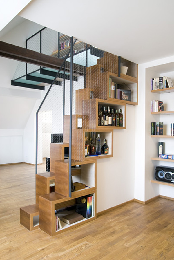 Interior-Design-Stair-Design-With-Bookcase-In-Understairs-Using-As-Storage-Stunning-modern-staircase-design-pictures Turn Your Old Staircase into a Decorative Piece