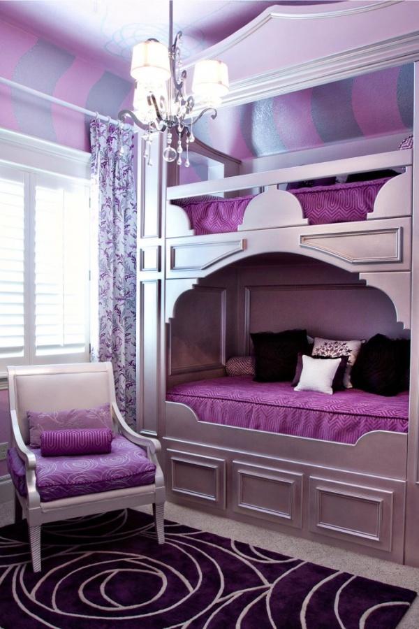 Luxurious-Girl-Bunk-Beds-beautiful-Purple-Interior-design Make Your Children's Bedroom Larger Using Bunk Beds
