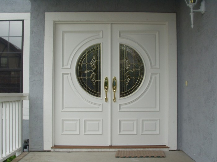 Luxurious-White-Door-Designs-Glossy-Gold-Handles-French-Window-915x6862 It Is Not Just a Front Door, It Is a Gate