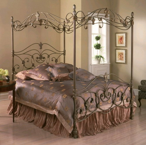 Luxury metal bed frame with canopy for bedroom furniture for Metal bedroom furniture