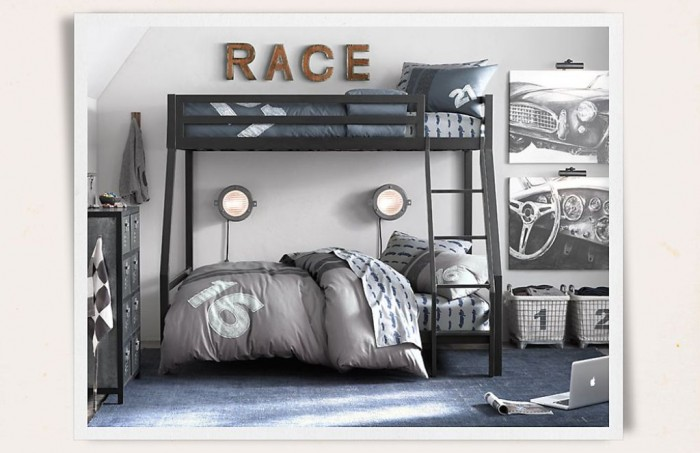 Modern-Boys-Room-Automotive-Theme-With-Vintage-Bunk-Beds Make Your Children's Bedroom Larger Using Bunk Beds