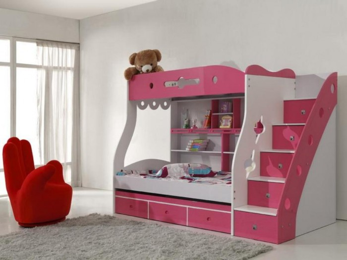 Modern-Children-Room-Interior-with-Bunk-Beds-Plans Make Your Children's Bedroom Larger Using Bunk Beds