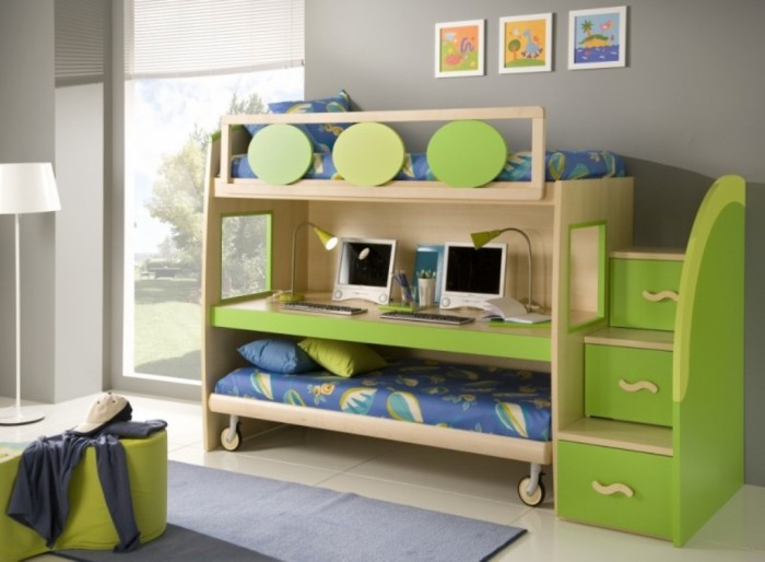 Modern-Double-Loft-Beds-for-Boys-Bedroom-Design-Idea-By-Gessegi-with-Workspace1-800x588 Make Your Children's Bedroom Larger Using Bunk Beds