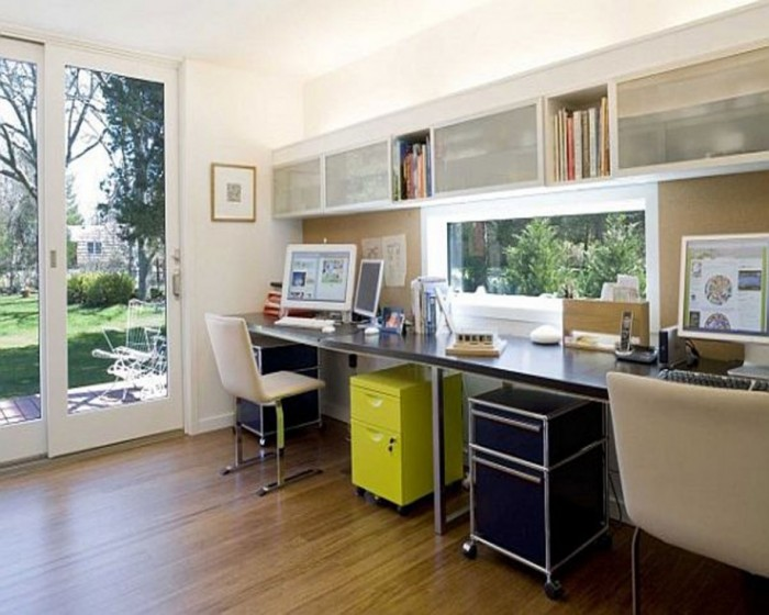 Modern-Home-Office-Ideas-Laminate-Flooring-White-Chair-Glass-Door-915x732 Modern And Stylish Designs Of Home Offices