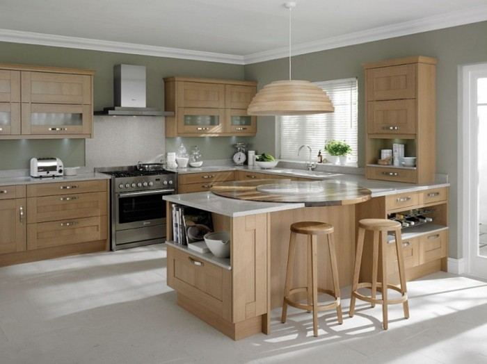 Modern-Kitchen-Design-Blonde-Oak-Kitchen-Islands-With-Stools-888x665 45 Elegant Cabinets For Remodeling Your Kitchen