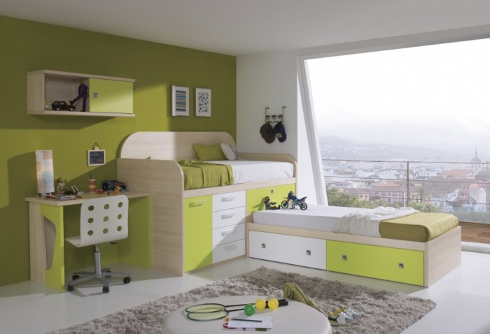 Modern-L-Shape-Bunk-Beds-Kids-Desk-Green-Wall-915x625 Make Your Children's Bedroom Larger Using Bunk Beds