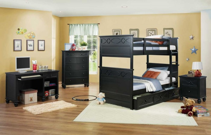 Modern-bunk-bed-in-black-color-with-nightstand-chest-dresser-and-desk Make Your Children's Bedroom Larger Using Bunk Beds