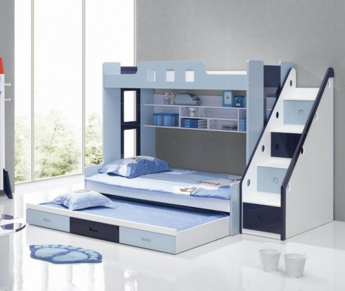 Modern-bunk-beds-with-stairs-with-trundle- Make Your Children's Bedroom Larger Using Bunk Beds