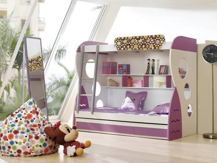 Purple-Girls-Bunk-Beds Make Your Children's Bedroom Larger Using Bunk Beds