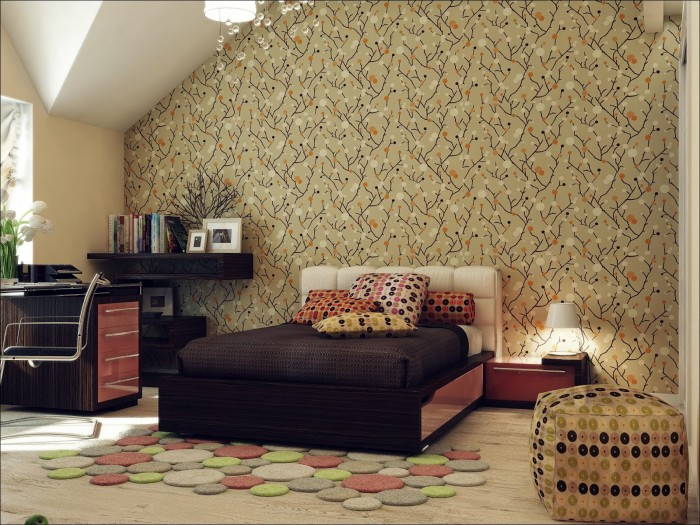 Red-Brown-Beige-Room-Wallpaper Tips On Choosing Wallpaper For Your Bedroom