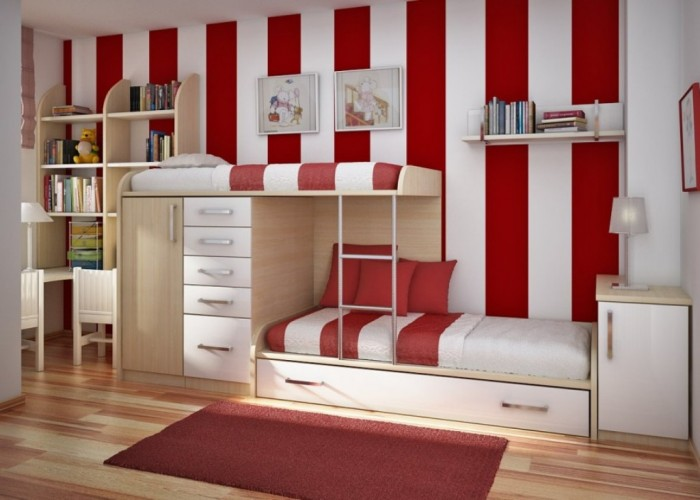 Red-Stripes-Wallpaper-Cool-Room-Designs-Modern-Bunk-Bed-915x654 Make Your Children's Bedroom Larger Using Bunk Beds