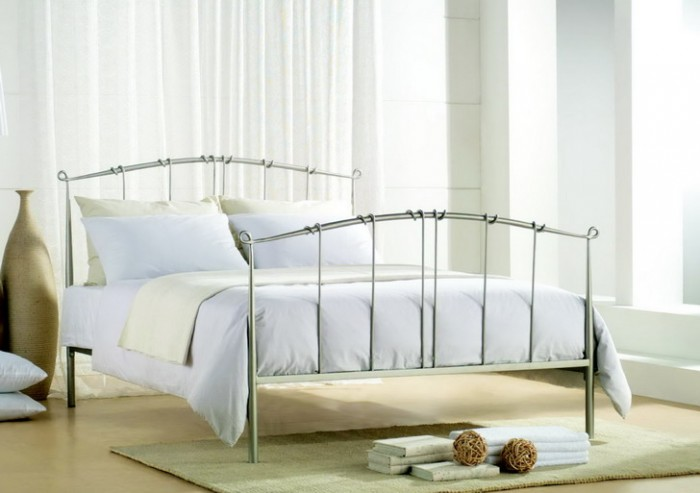 Silver-Luxury-Metal-Bed-Frame-Stunning-Headboard Luxury Designs For Beds Made Of Metal
