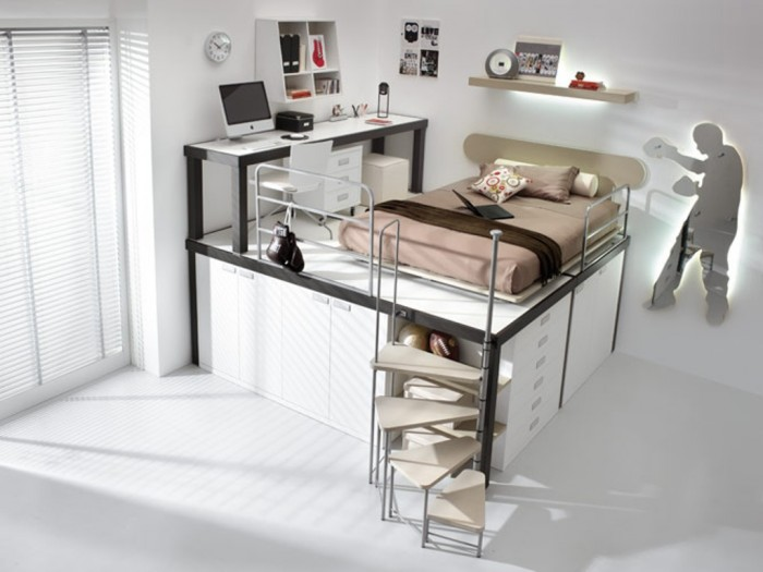 Single-Beige-Bunk-Beds-with-Stair-and-Mac-Desk Make Your Children's Bedroom Larger Using Bunk Beds