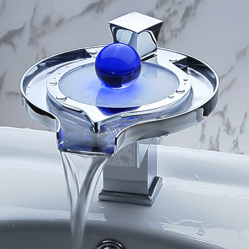 Single-Handle-Special-Frisbee-Design-Waterfall-Bathroom-Vanity-Sink-LED-Faucet 32 Creative Sink Faucets In Contemporary And Modern Designs