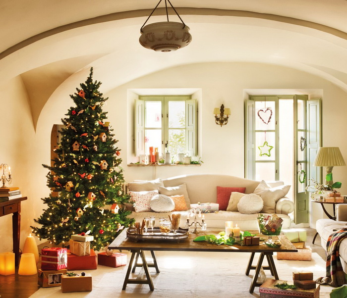 Small-Living-Room-With-Beautiful-Christmas-Decorating-Ideas Tips With Ideas Of Decorations For Christmas Celebrations