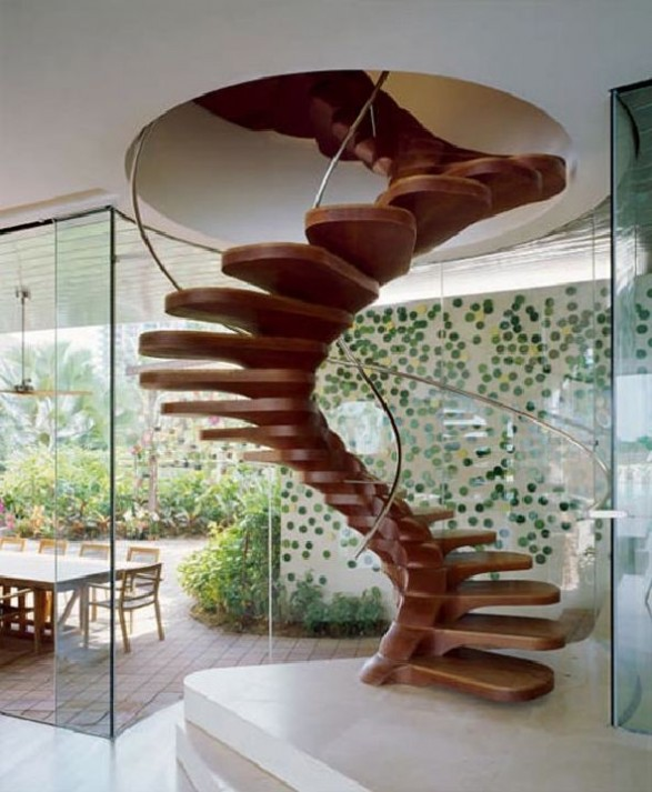 Unique-wooden-spiral-staircase-decorating-ideas-587x713 Turn Your Old Staircase into a Decorative Piece