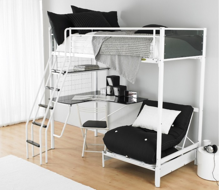 White-Futon-Bunk-Bed-Concept Make Your Children's Bedroom Larger Using Bunk Beds