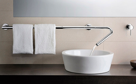 bathroom-faucets-wall-mounted-neve 32 Creative Sink Faucets In Contemporary And Modern Designs