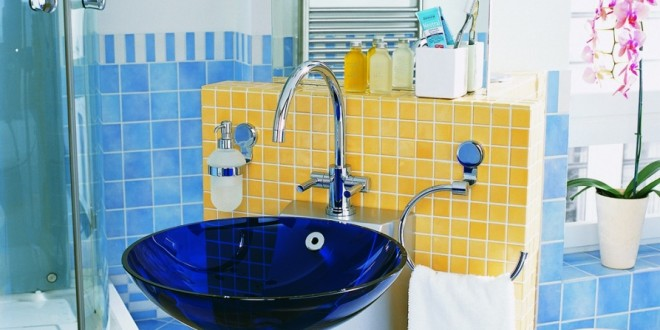 Bathroom modern bright blue and yellow bathroom design for Bright yellow bathroom ideas