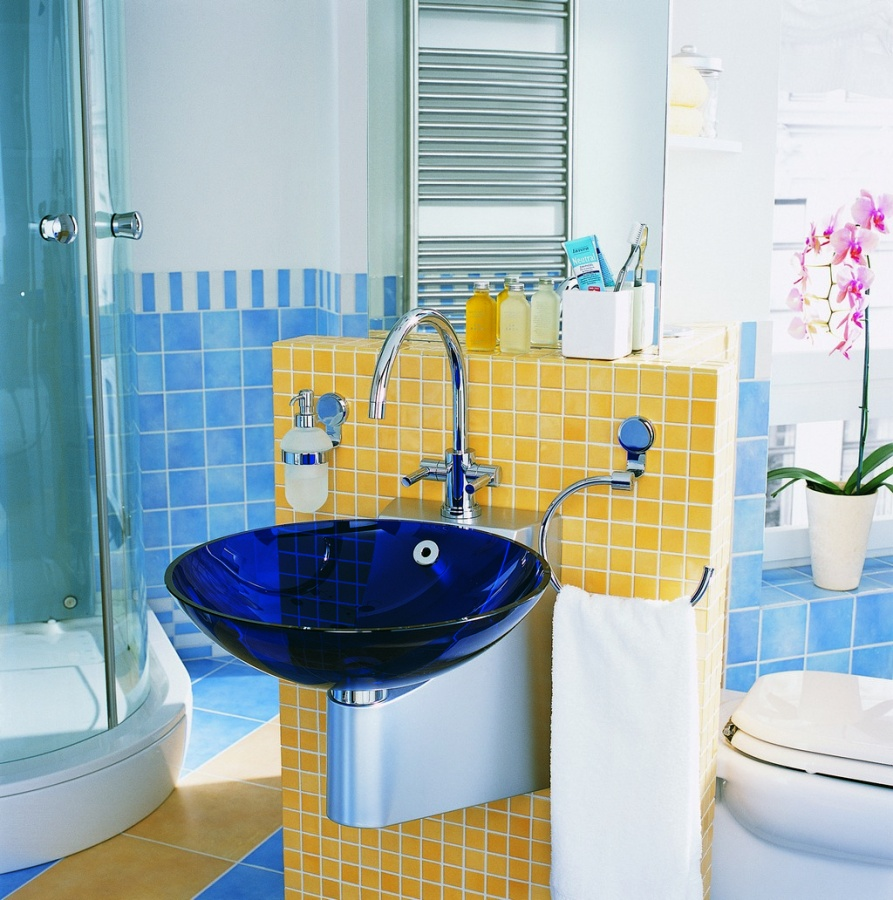 bathroom-modern-bright-blue-and-yellow-bathroom-design-with-dark-blue-sink-kids-bathroom-decorating-ideas 25 Ideas Of Modern Designs For Kids Bathroom