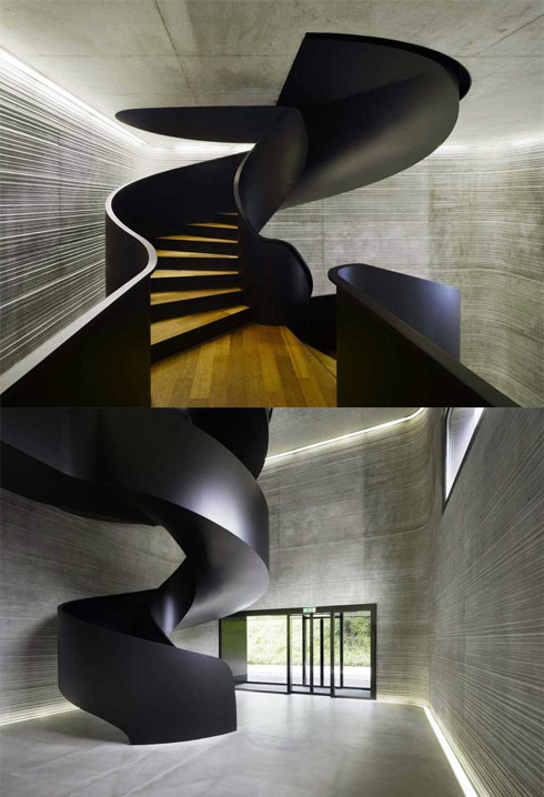black-shine-modern-wooden-stair-with-grey-wooden-wall- Turn Your Old Staircase into a Decorative Piece