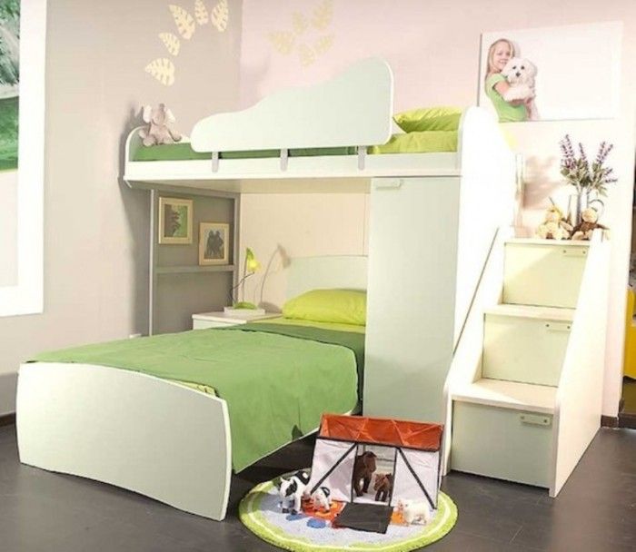 bunk-bed-with-stairs-self-assembly-green Make Your Children's Bedroom Larger Using Bunk Beds