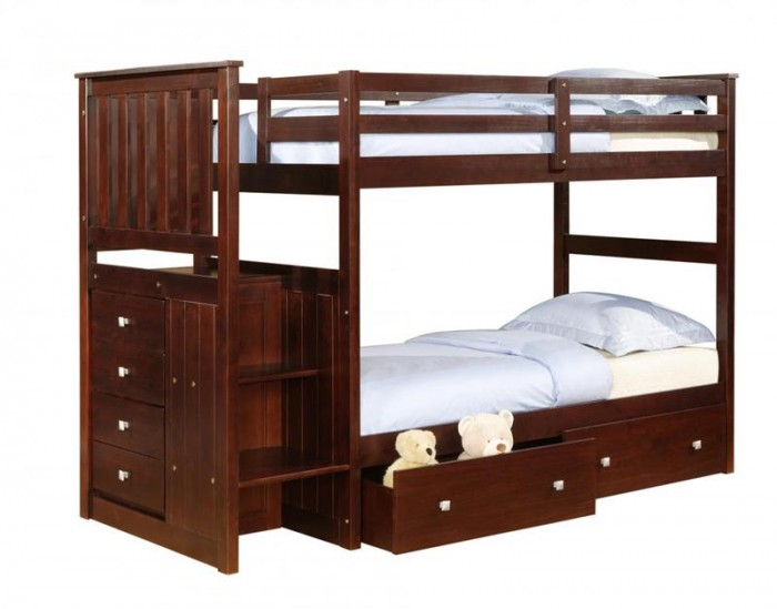 calvin-cappuccino-twin-bunk-bed-with-stairs-800x628 Make Your Children's Bedroom Larger Using Bunk Beds