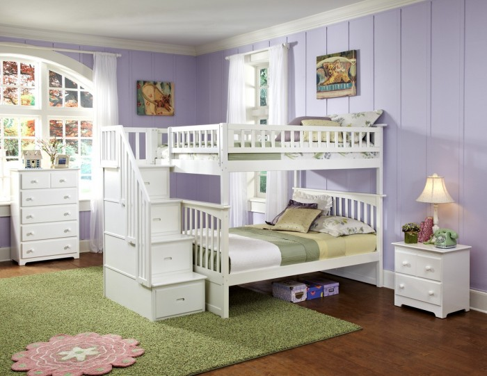 columbia_ff_stair_wh Make Your Children's Bedroom Larger Using Bunk Beds