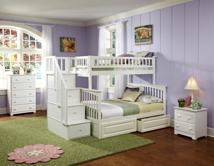 columbia_tf_stair_wh Make Your Children's Bedroom Larger Using Bunk Beds