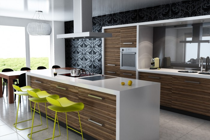 contemporary-kitchen-design-modern-dining-table 45 Elegant Cabinets For Remodeling Your Kitchen