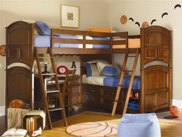 fancy-corner-bunk-bed-design-with-stairs-for-kids-bedroom Make Your Children's Bedroom Larger Using Bunk Beds