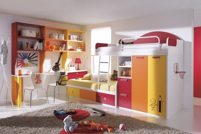 kids-bedroom-funky-colorful-girl-bunk-with-minimalist-wardrobe-and-modern-study-desk-also-chairs-beautiful-designer-childrens-beds-and-furniture-ideas Make Your Children's Bedroom Larger Using Bunk Beds