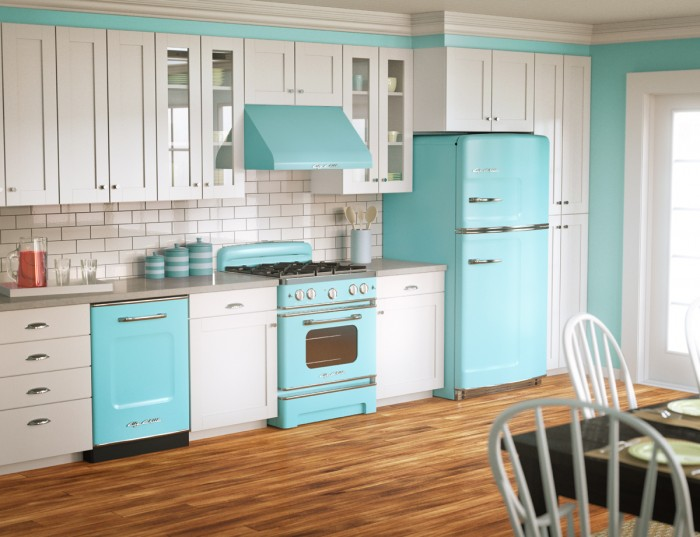 kitchen-pretty-retro-blue-refrigerator-and-oven-with-beautiful-white-kitchen-counter-also-chic-laminated-floor-sophisticated-vintage-kitchen-design-ideas 10 Amazing Designs Of Vintage Kitchen Style