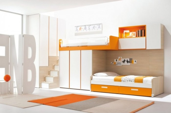 loft-bedroom-set-with-wardrobe-ladder-1 Make Your Children's Bedroom Larger Using Bunk Beds