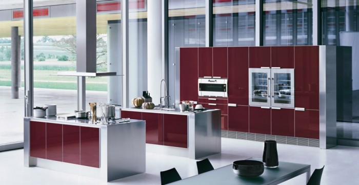 modern-kitchen-interior-furniture-design-with-red-corian-theme-and-stainless-steel 45 Elegant Cabinets For Remodeling Your Kitchen