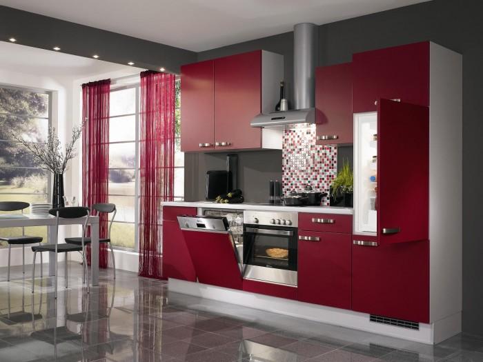 modern-red-kitchen-idea 45 Elegant Cabinets For Remodeling Your Kitchen